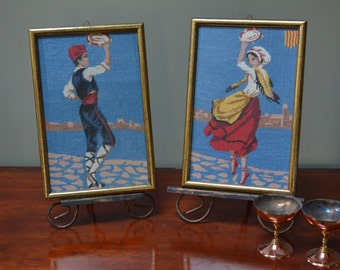 Greek Dancers Needlepoint Framed Pair of Needlepoint Pictures Traditional Greek Dancers From Greece I Ship Globally