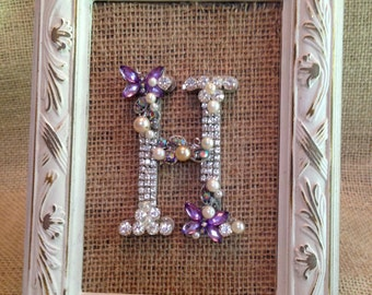 Framed Jeweled Letter, Monogram, Custom Made