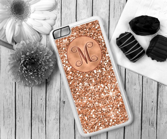 Rose Gold Cell Phone Case Monogrammed Personalized iPhone 8 Plus 7+ 7 6 5c 5s 5 S6 Edge Samsung S6 S5 Tough Rubber Plastic  Matching Stand