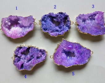 Druzy Geode Pendant with Electroplating Gold Edge Double Bail Connector Link B1434