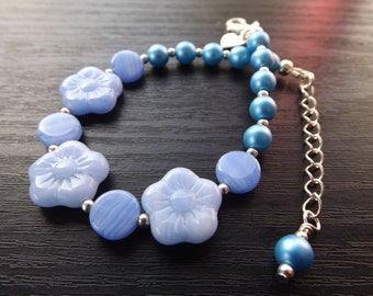 Blue Czech Glass Flower Bracelet