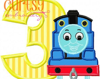 Birthday Embroidery Design, Thomas Embroidery Design, Third Birthday Applique Design, 3rd Birthday, Thomas the Train