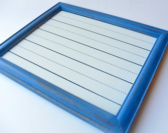 Blue Framed Dry Erase Board, White Board, School, Kids Printing Board, Office Decor,  Bulletin Board, Repurposed Frame, Gift, Kids Room