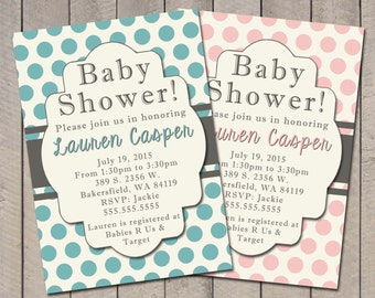 Baby shower invitation, blue and grey polka dot