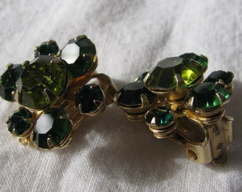 Petite WEISS Signed Emerald and Lime Green Rhinestone Earrings, Vintage Clip Backs, 1950's