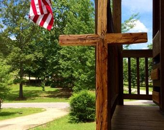 Reclaimed Wood Cross, Hand Hewn Cross, Driftwood Cross, Diftwood Decor, Church Decor, Hardwood Cross, Log Cabin Decor, Handmade Wooden Cross
