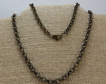 Chain, Antiqued Brass Chain, 5mm Rolo Chain with Lobster Clasps, Necklace Chain, Custom Lengths, Item 840ch