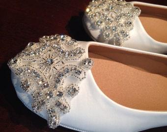 Flat Bridal Shoe,Size 6,Rhinestone Shoe,Wedding Shoe,Flat Rhinestone  Shoe
