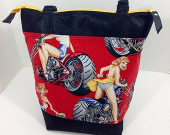 Red Biker Chick Tote
