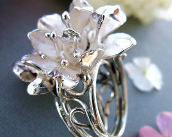 Silver Ring - Ring with flower - large ring - ring with zircon