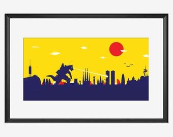 Barcelona Skyline Print, Barcelona art, Barcelona pint, Barcelona poster, Barcelona Illustration, Kaiju art, Kaiju print, Kaiju poster, gift
