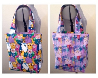 Adventure Time Inspired Reversible Cotton Tote Bag, Jake the Dog, Finn the Human, LSP, Lumpy Space Princess, Princess Bubblegum, Ice King