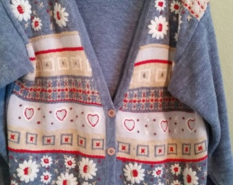Koret City Blues Cardigan Sweater Size Small