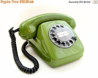 SALE Vintage German Rotary Telephone, Green Phone from 70s, 80s, Fetap 611-2a in Working Condition