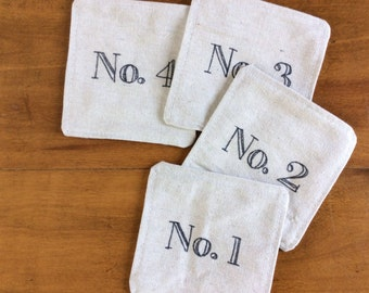 Vintage Numbers Fabric Coasters (set of 4) Reversible