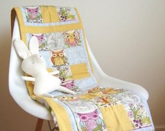 Baby Quilt Owls - Porcupine - Fox - Squirrel -  Modern -  Blanket Newborn - Patchwork - Organic Baby Quilt - Watercolor - Eco Friendly