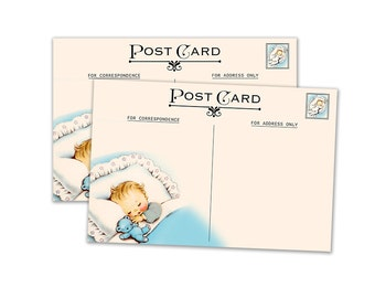"Digital Baby Boy Postcards for vintage baby shower/  4"" by 6"" and 2.5"" by 3.5"" / ATC, post card, Project Life/ instant download / printable"