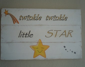 Twinkle twinkle little Star rustic wood sign for children's room