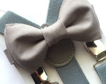 Grey Bow Tie and Grey Suspenders Set. Adults/Kids