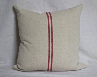Red Striped French Grainsack Cushion