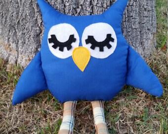 Handmade blue owl vintage fabric stuffed toy