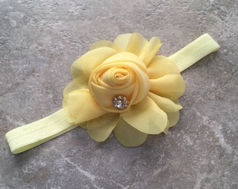 Flower Headband, Pale yellow baby Headband, Newborn headband, baby hair bow, Newborn photo prop, hair accessories,  chiffon rosette headband
