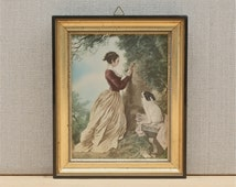cute vintage French picture, framed print on silk of Fragonard's chiffre d'amour, lover's initials, girl with dog, 1950's home, wall decor