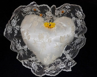 SALE - Vintage Ivory Satin Heart Shape Pillow With Ruffle Ivory Lace Edge