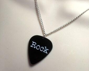 ROCK....Plectrum shaped laser cut acrylic necklace