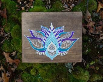 Lotus Flower- Purple Lotus- Wood Wall Art- Yoga Art