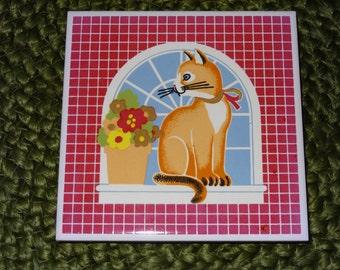 Set of 4 Cat Tile Trivets / Trivets / Tile Trivets / Vintage Kitchen / Vintage Dining