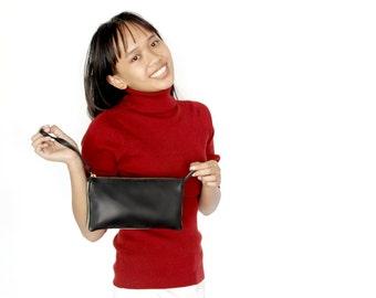 Leather wristlet , Black leather wallet , Money purse