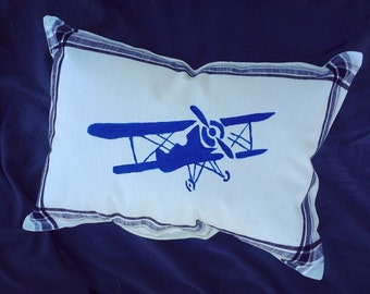 Decorative Airplane Pillow : Items similar to Airplane pillow, white and blue pillowcase, throw travel decor, wanderlust wall ...