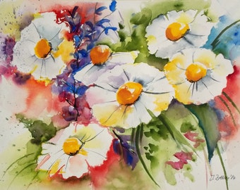 Flower Painting of Daisies, Limited Edition Print