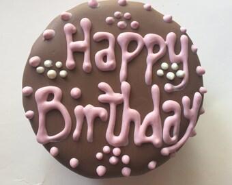 Dog Birthday Cake//Homemade Gourmet Pink Birthday Cake for Dogs