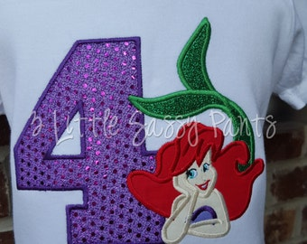 The Little Mermaid Birthday Shirt- Ariel Applique Shirt- Embroidered Shirt- Birthday Shirt- Custom- Ariel Shirt- Disney-Purple
