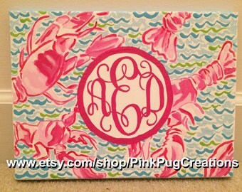 Lilly Pulitzer Inspired Lobster Painting with Monogram