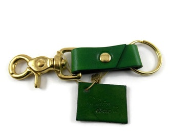 Leather key ring, key ring, key fob, key chain, brass key ring, green key ring, green key chain, trigger snap key ring, ring for keys