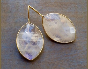Rainbow Moonstone and Gold Plated Earrings