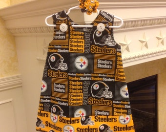 Pittsburgh Steelers Dress w Steelers Band, Black and Gold, NFL Football (infant, baby, girl, toddler,child) with matching hair accessory.