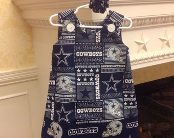 Dallas Cowboys Dress w Cowboys Band, NFL, (infant, baby, girl, toddler,child) with matching hair accessory.
