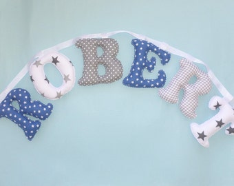BLUE - GRAY COLOR pattern name banner, Fabric letter name banner, Baby Boy Name Wall Art - Made To Order