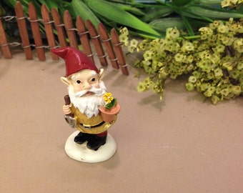 Small Gnome for your Garden Flower Pot, Gnome with Shovel and Flower Pot