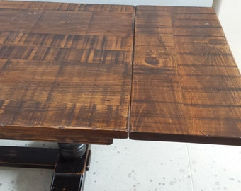 Rustic Wood Trestle Table / Homestead Table / Farmhouse Table With Extensions