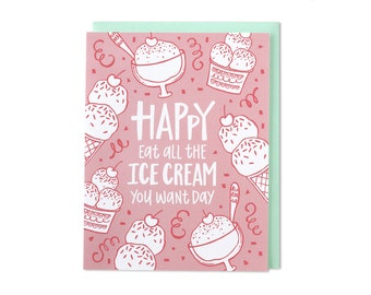 Birthday Card, Happy Birthday Card, Card Birthday, Cards Birthday, Ice Cream Birthday Card, Dessert Card