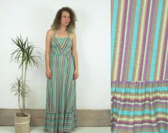 ON SALE 90's vintage women's colorful striped maxi dress