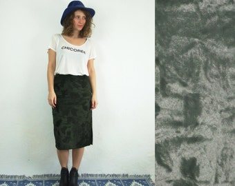 90's vintage women's green high waisted furry pencil skirt