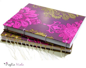 Indian Bohemian journal violet lotus bookbinding gold flower book shaman guestbook purple notebook boho diary rose sketchbook coptic stitch