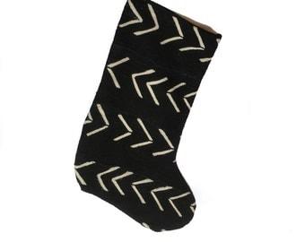 Mud Cloth Christmas Stocking Mudcloth Stocking Black White Arrow Print