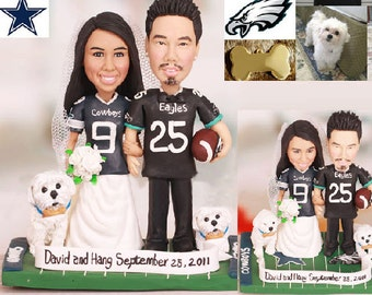 America football wedding - Personalised wedding cake topper (Free shipping)